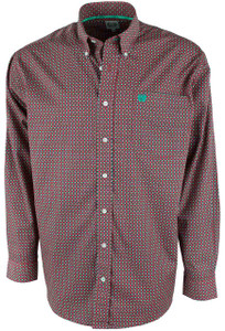 Cinch Red and Green Mini Print Shirt - Front