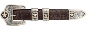 "Pinto Ranch Presidential Stars Gold Engraved 1"" Buckle Set"