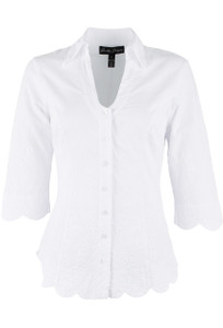 Gretty Zueger 3/4 Sleeve Eyelet Scallop Top - Front