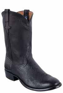 Rios of Mercedes Men's Black Smooth Ostrich Roper Boots