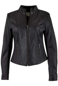 Scully Black Lambskin Jacket - Front