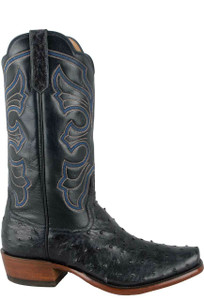 Rios of Mercedes Men's Navy Americano Full-Quill Ostrich Boots - Side