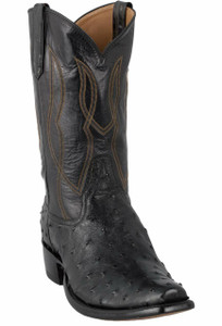 Rios of Mercedes Men's Black Full-Quill Ostrich Boots with Snip Toe