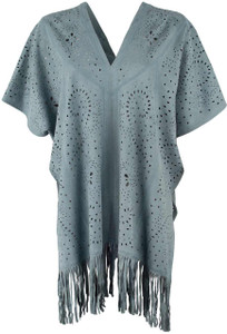 Adore Laser Cut Suedette Fringe Poncho - Turquoise - Front