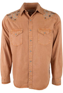 Ryan Michael Silk Gabardine Snap Shirt - Orange