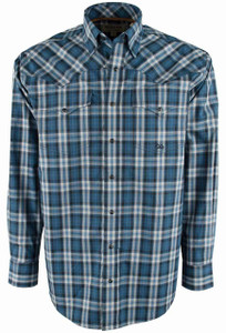 Miller Ranch Navy, Black and White Plaid Snap Shirt - Front