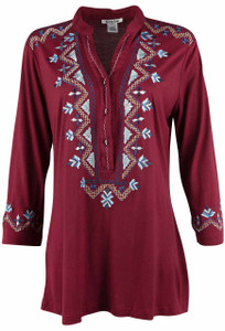 Krista 3/4 Sleeve Embroidered Tunic - Front
