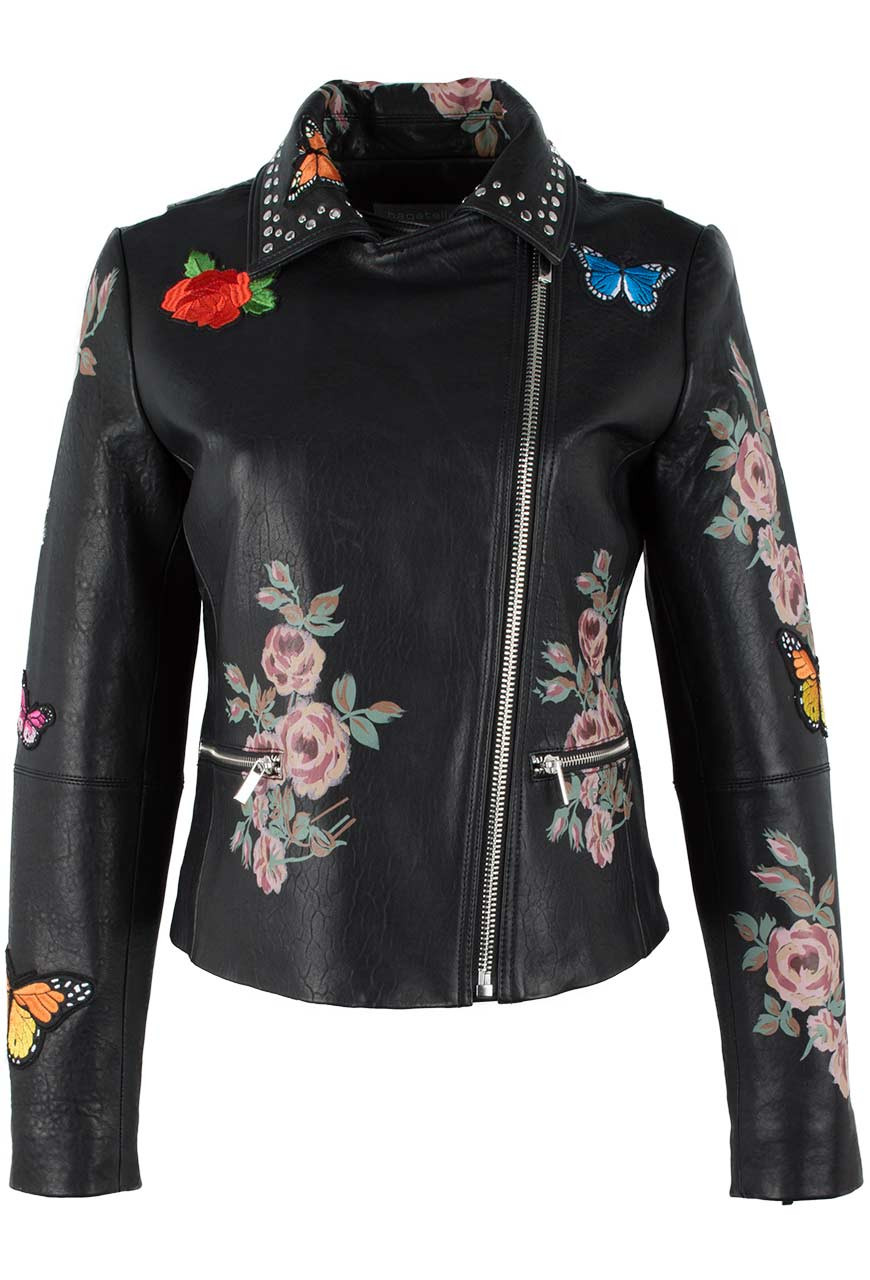 Bagatelle Moto Jacket With Painted Floral Pinto Ranch