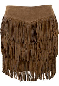 Scully Short Suede Three Tiered Fringe Skirt - Front
