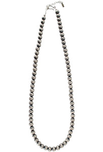 Rocki Gorman Navajo Pearl 12mm Silver Bead Necklace