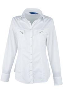 Georg Roth Solid White Snap Shirt - Front