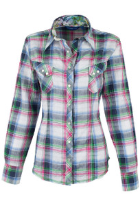 Georg Roth Blue and Green Plaid Snap Shirt - Front