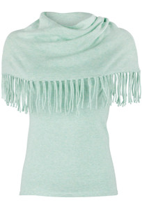 Minnie Rose Fringe Cowl Neck Top - Aqua - Front