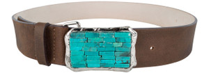 Streets Ahead Chocolate Leather Belt with Turquoise Buckle