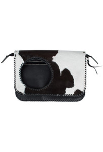 Volante Cow Hair Shoulder Bag - Black - Front