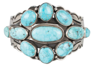 Turquoise Moon Kingman Turquoise Cluster Cuff - Front