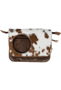Volante Cow Hair Shoulder Bag - Brown - Front