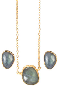 Christina Greene Labradorite Earring and Necklace Gift Set - Detail