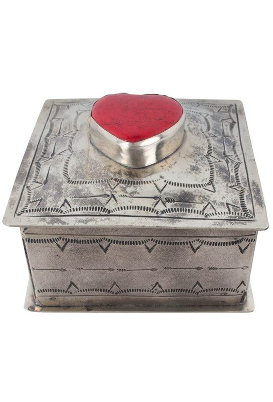 J. Alexander Silver Stamped Box with Coral Heart