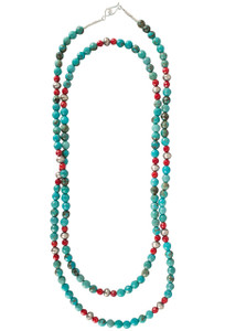 Ticklebutton Jewels Turquoise with Red Coral and Silver Beads Necklace - Alternate