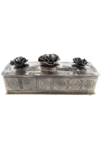 J. Alexander Silver Stamped Rose Pencil Box