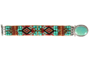 Chili Rose Green Turquoise and Red Bracelet