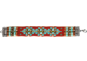 Chili Rose Red, Turquoise and Brown Beaded Bracelet