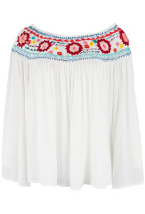 Avani del Amour Embroidered Ivory Peasant Top - Front