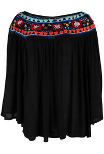Avani del Amour Embroidered Ivory Peasant Top - Black - Front