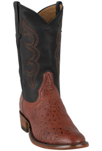 Rios of Mercedes Men's Almond Americano Smooth Ostrich Boots