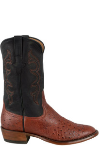 Rios of Mercedes Men's Almond Americano Smooth Ostrich Boots  - Side