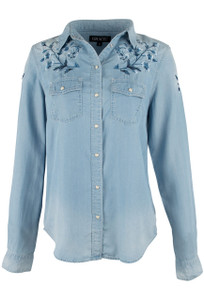 Grace in L.A. Light Blue Embroidered Snap Shirt - Front