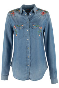 Grace in L.A. Denim Embroidered Snap Shirt - Front