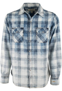 Ryan Michael Faded Bleach Gingham Snap Shirt - Indigo - Front