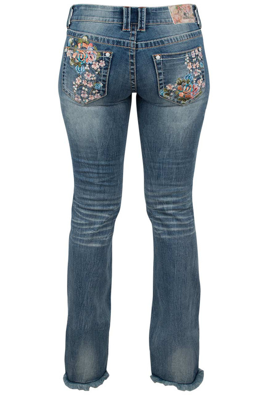 Grace In L A Junior Floral Embroidery Bootcut Jeans With