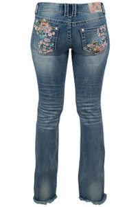 Grace in L.A. Junior Floral Embroidery Bootcut Jeans with Fringe - Back