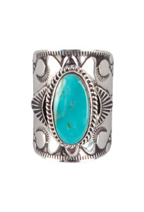 Turquoise Moon Wide Sterling Silver and Turquoise Ring - Front