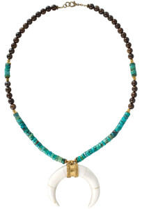 Breathe Deep Designs Giant Crescent Horn with Turquoise Necklace