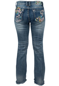 Grace in L.A. Easy Fit Floral Embroidery Bootcut Jeans with Fringe - Back