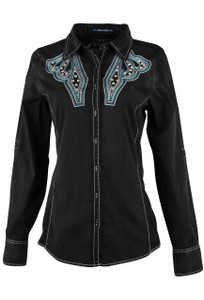 Grace in L.A. Black Rhinestone Embellished Shirt - Front