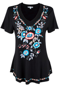 Caite Short Sleeve V-Neck Top - Front