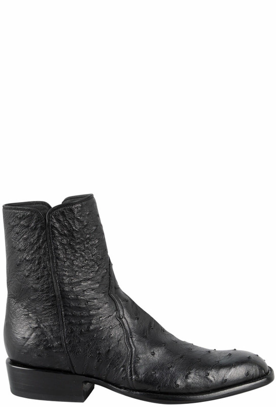Stallion Men S Zorro Black Full Quill Smooth Ostrich Ankle