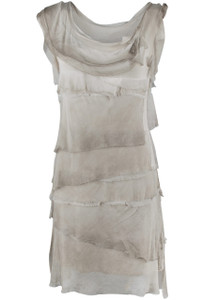 Gigi Sleeveless Short Ruffle Dress - Taupe - Front