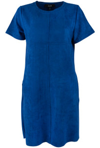 Joh Aubrey Short Sleeve Faux Suede Dress - Cobalt - Front
