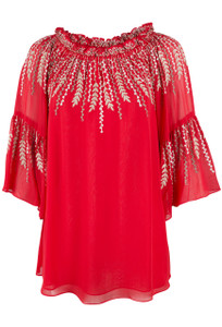 Vintage Collection Callalily Peasant Top - Red - Front