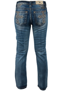 Miss Me Cross Mid-Rise Bootcut Jeans - Back