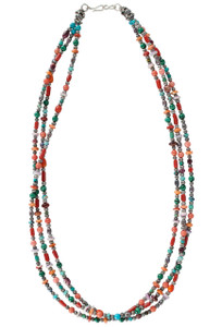 Turquoise Moon Three-Strand Multi-Stone Necklace