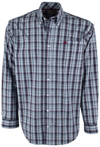 Cinch Navy and Burgundy Plaid Shirt - Front