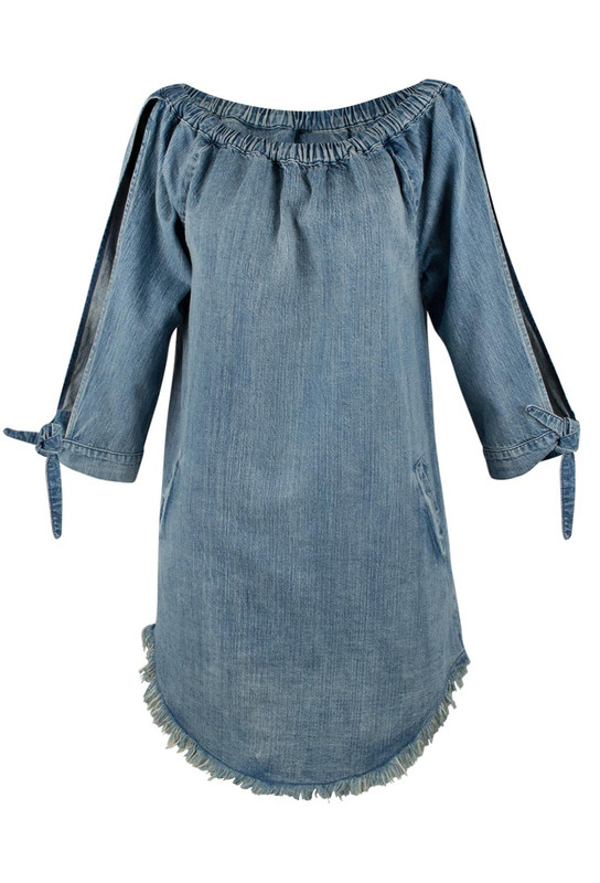 Billy T Open Sleeve Denim Dress - Front