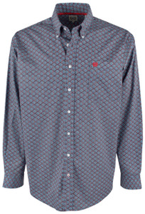 Cinch Blue and Red Diamondback Print Shirt - Front